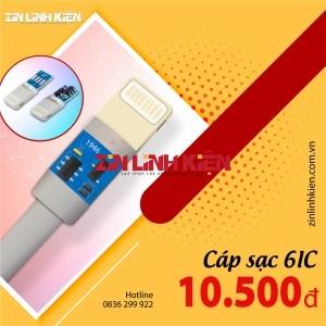 Cáp Dữ Liệu USB Type Lightening 1M 6ic - Dùng Cho Các Dòng Máy Iphone Cổng Type Lightening, Chất Liệu Dây Nhựa, Chiều Dài 1m. Chip Tích Hợp 6ic Hỗ Trợ Sạc Nhanh Fast Charger, Màu Trắng